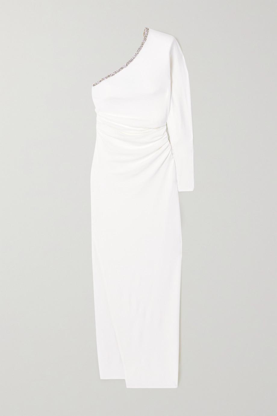 Alexandre Vauthier One-shoulder crystal-embellished stretch-crepe gown