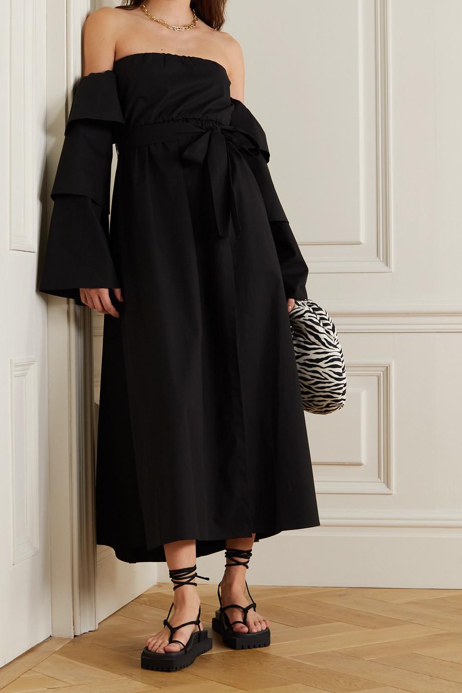 REDValentino Off-the-shoulder tiered stretch-cotton poplin dress
