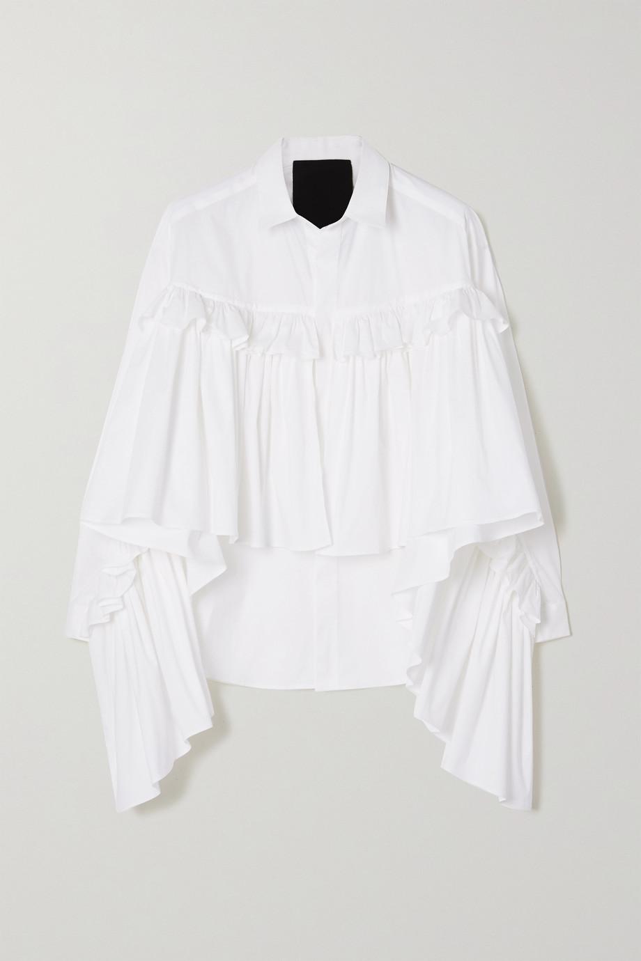 REDValentino Ruffled stretch cotton-blend poplin blouse