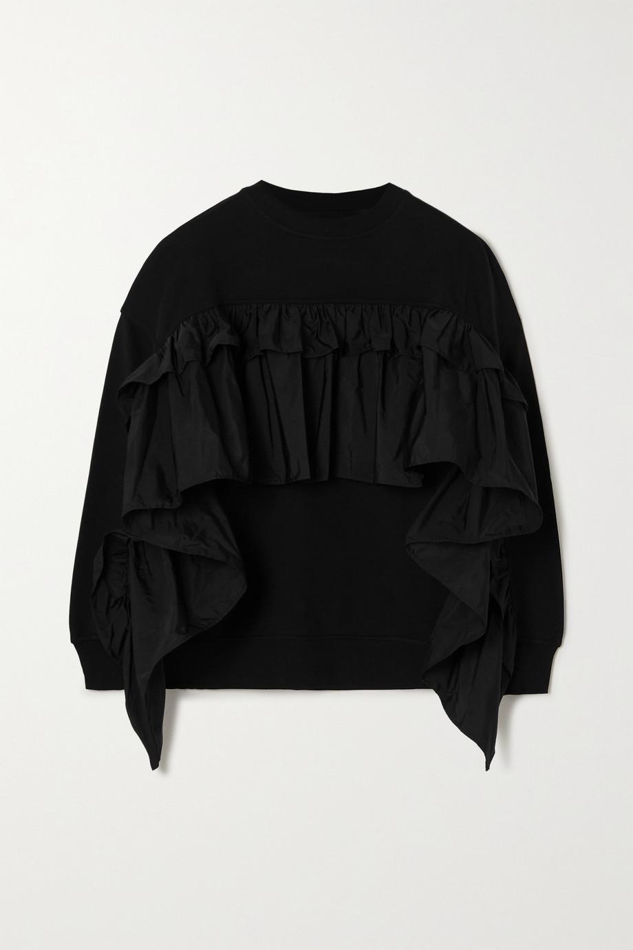 REDValentino Ruffled taffeta-trimmed cotton-blend jersey sweatshirt