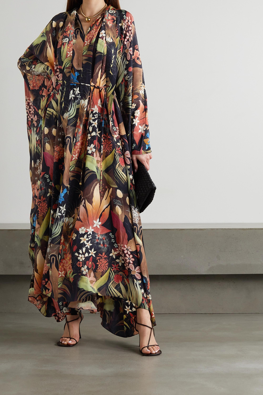 Lanvin Robe longue en mousseline de soie à imprimé fleuri, à liens et à ceinture