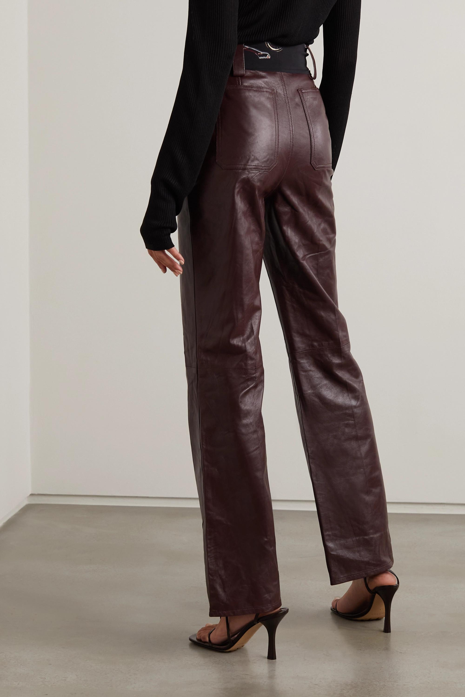 Lanvin Pantalon évasé en cuir à ceinture