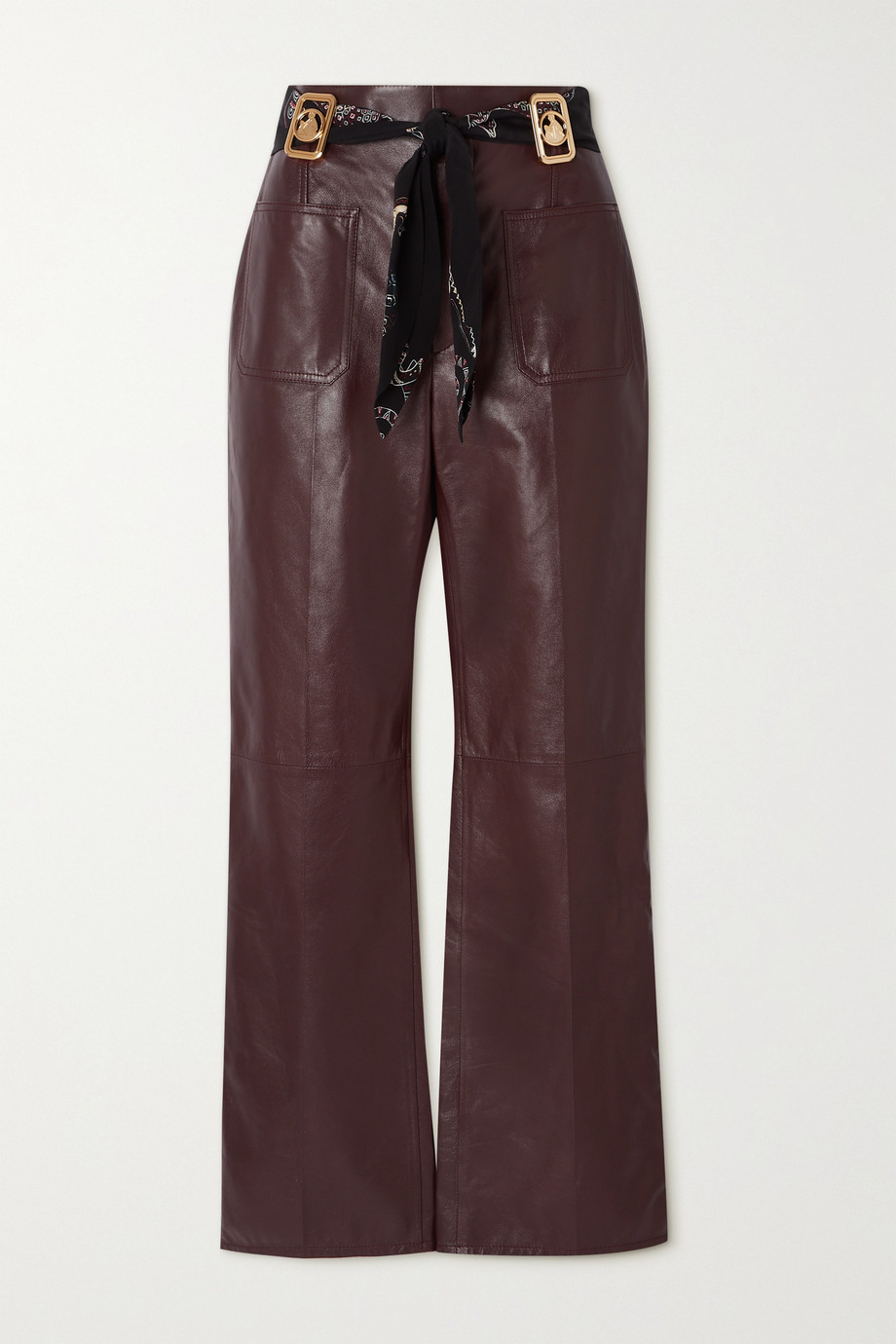 Lanvin Belted leather flared pants