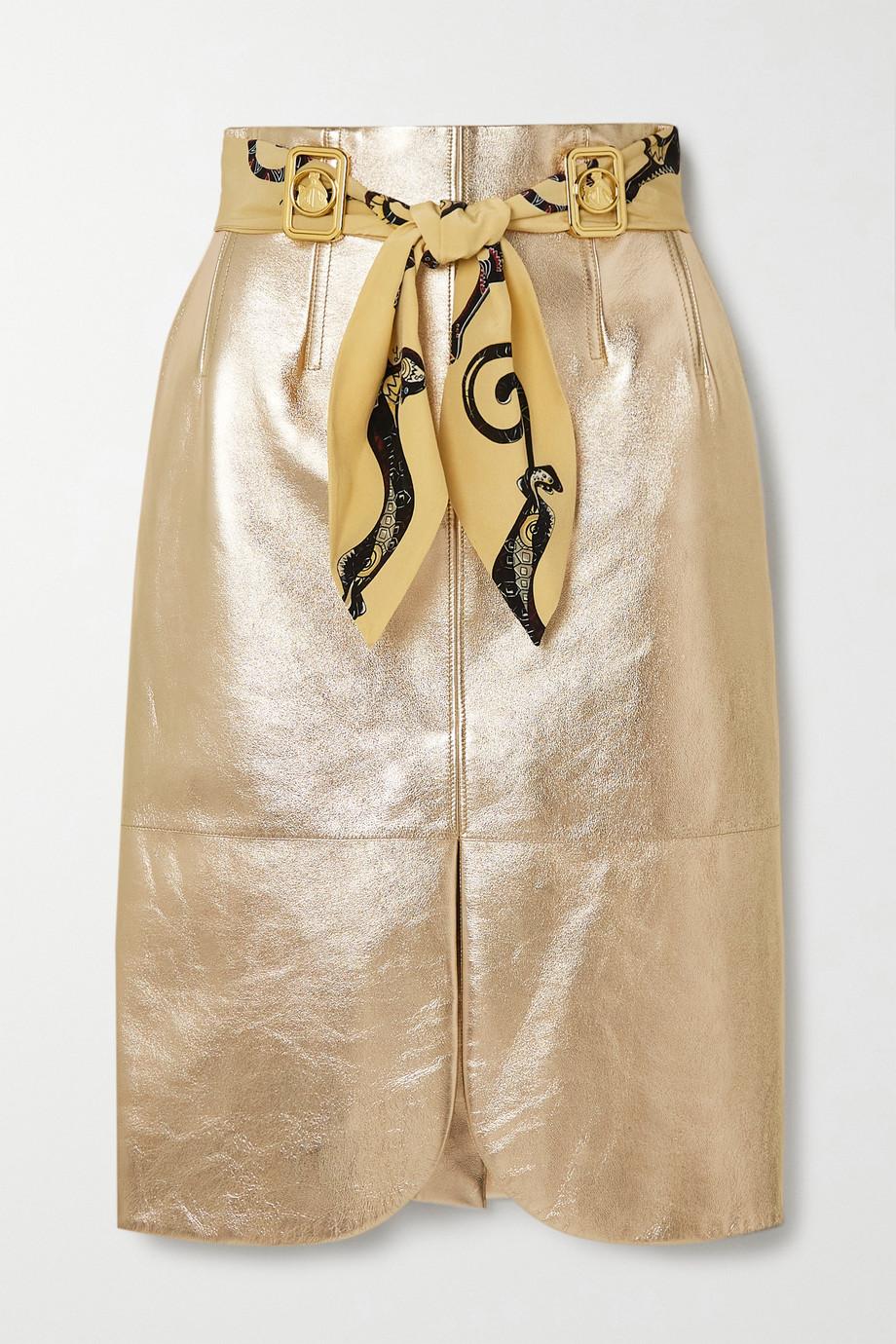 Lanvin Belted embellished metallic leather skirt