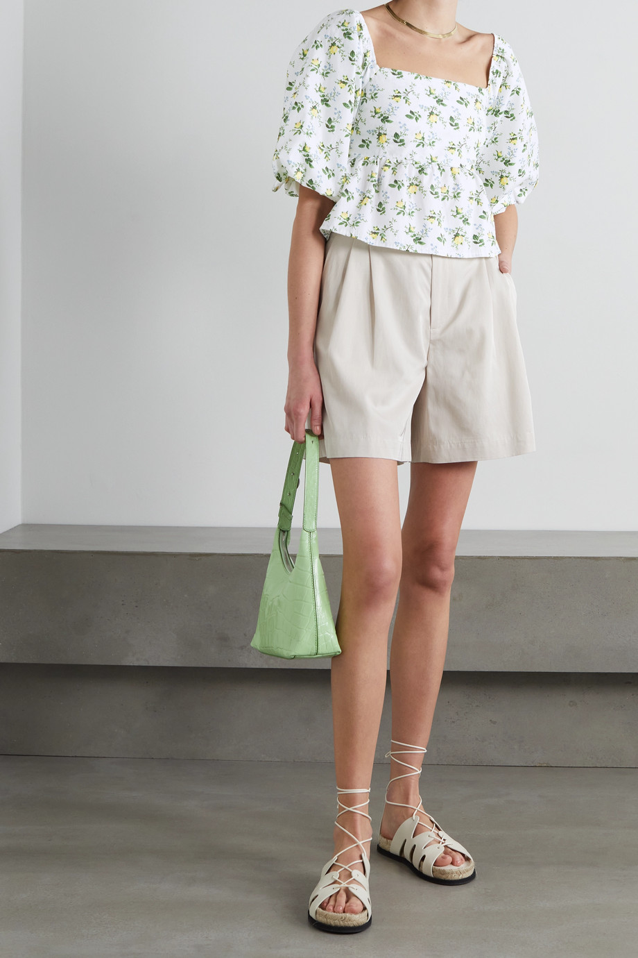 Faithfull The Brand + NET SUSTAIN Quincy cropped floral-print cotton-poplin top