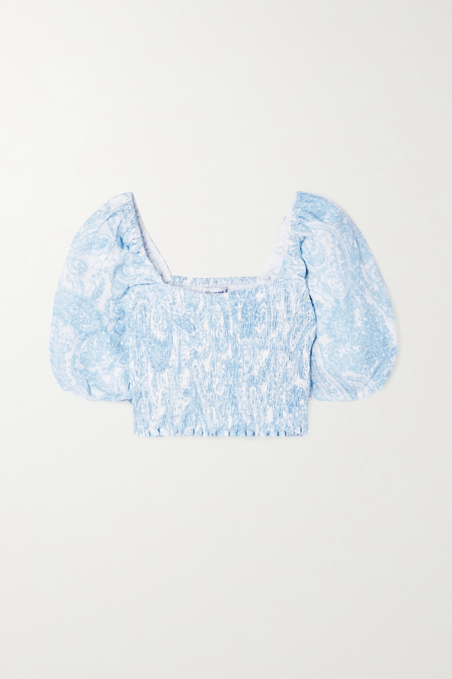 Faithfull The Brand + NET SUSTAIN Robina cropped shirred paisley-print linen top