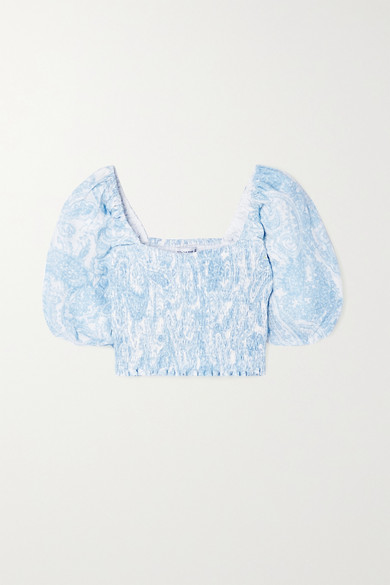Faithfull The Brand - + Net Sustain Robina Cropped Shirred Paisley-print Linen Top - Light blue