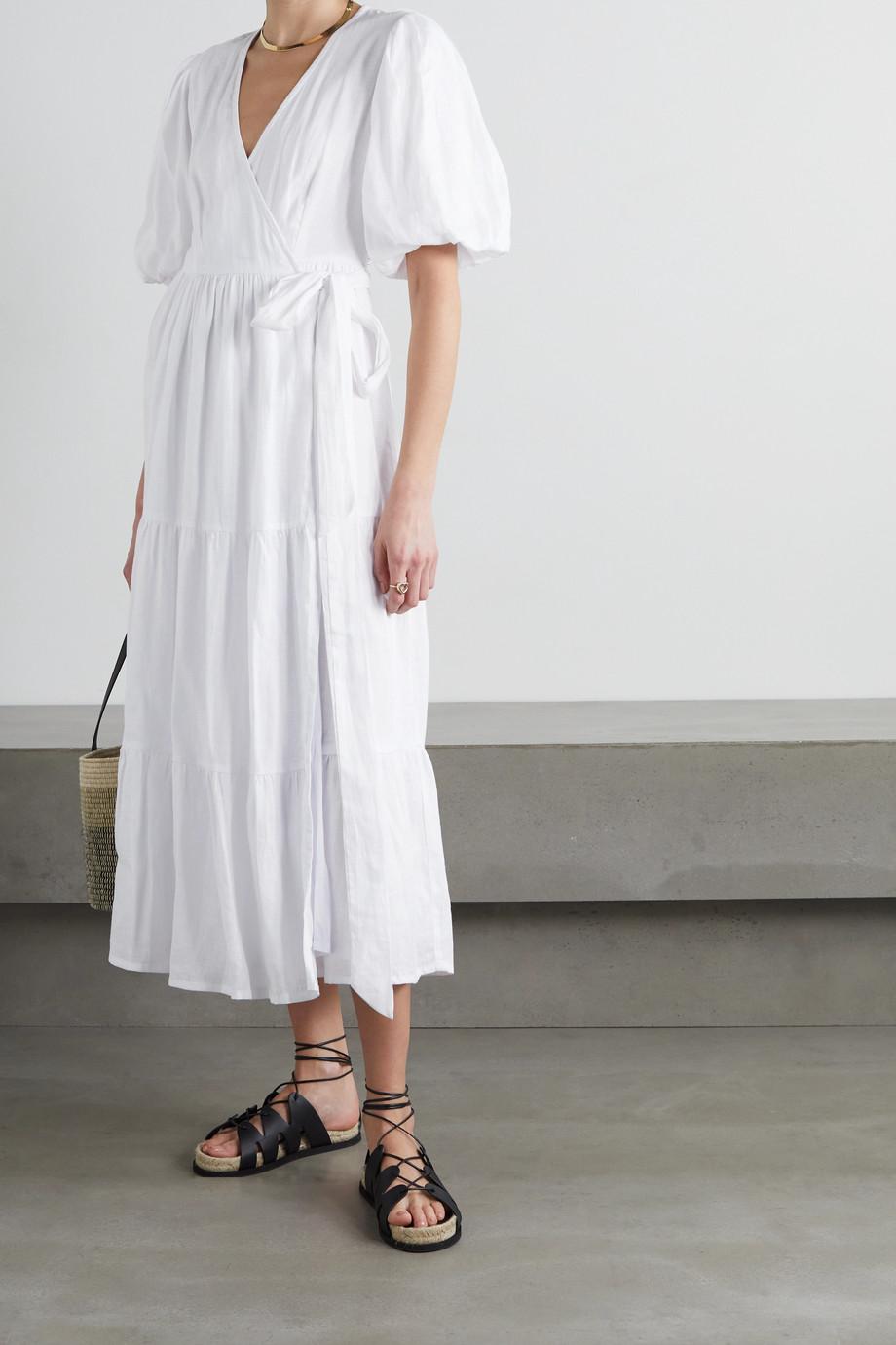 Faithfull The Brand + NET SUSTAIN Edee tiered linen wrap midi dress