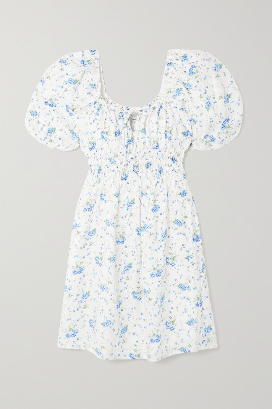 Faithfull The Brand + NET SUSTAIN Nikoleta tie-detailed shirred floral-print linen mini dress