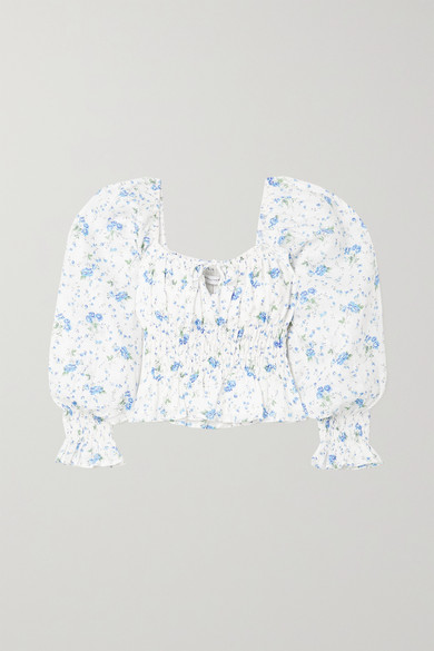 Faithfull The Brand - + Net Sustain Gillian Tie-detailed Shirred Floral-print Linen Top - White