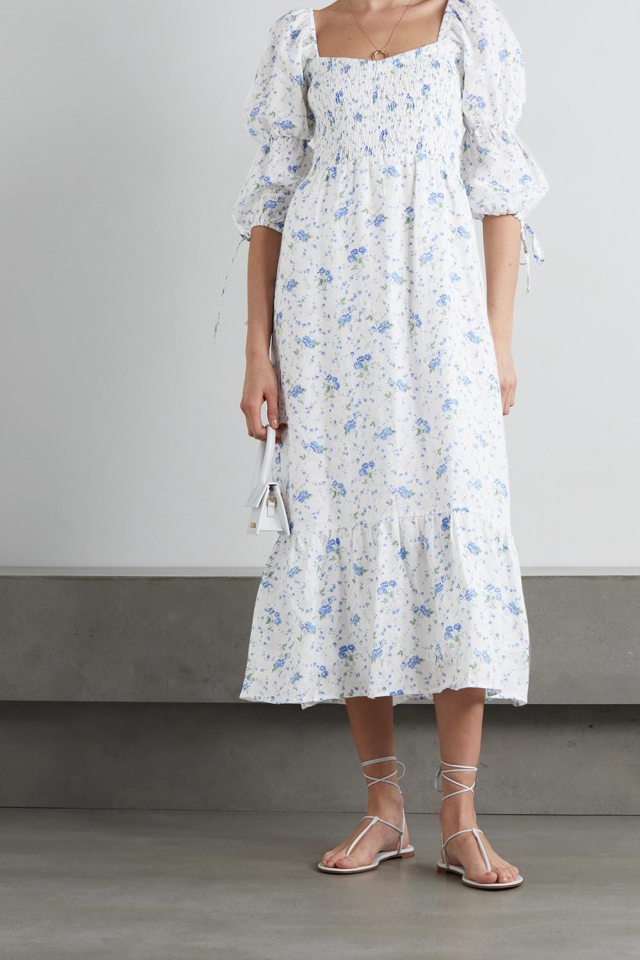 Faithfull The Brand + NET SUSTAIN Marita shirred floral-print linen midi dress