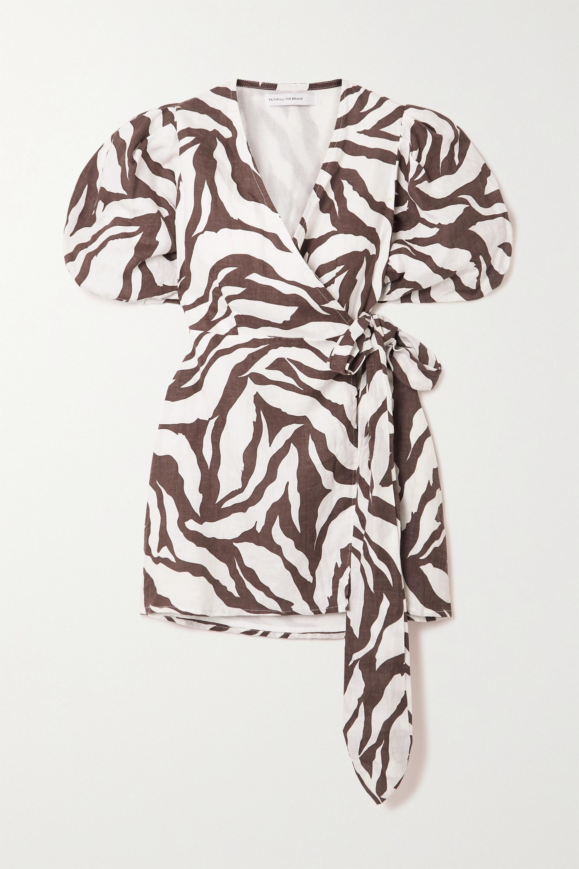 Faithfull The Brand Mini-robe portefeuille en lin à imprimé zèbre Godiva - NET SUSTAIN