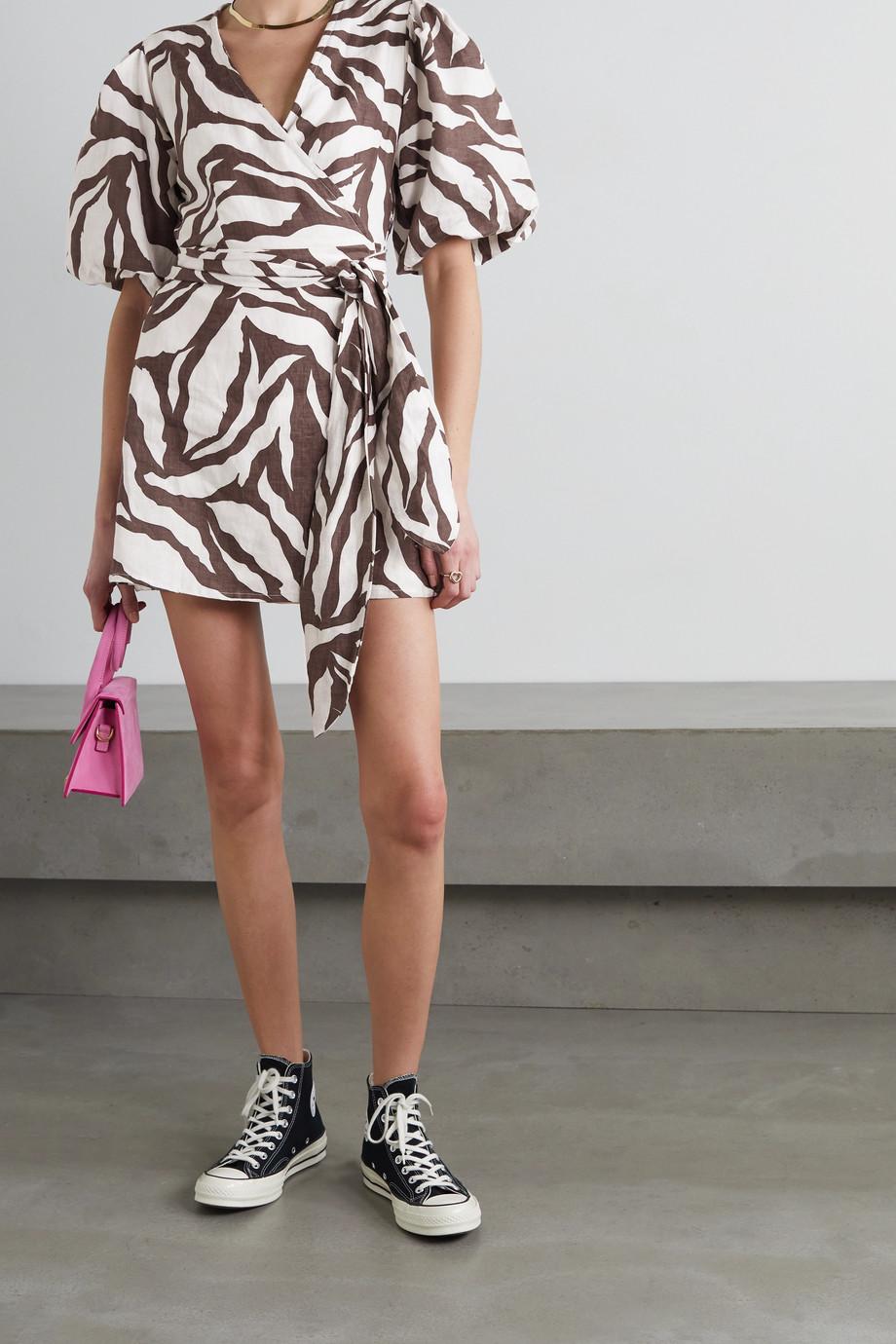 Faithfull The Brand + NET SUSTAIN Godiva zebra-print linen wrap mini dress