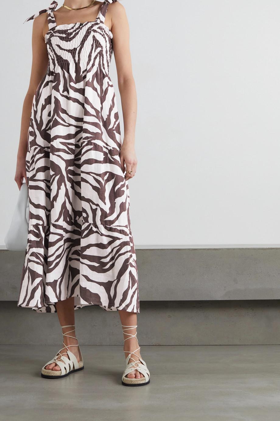 Faithfull The Brand Robe midi en lin à imprimé zèbre et à liens Rianne - NET SUSTAIN