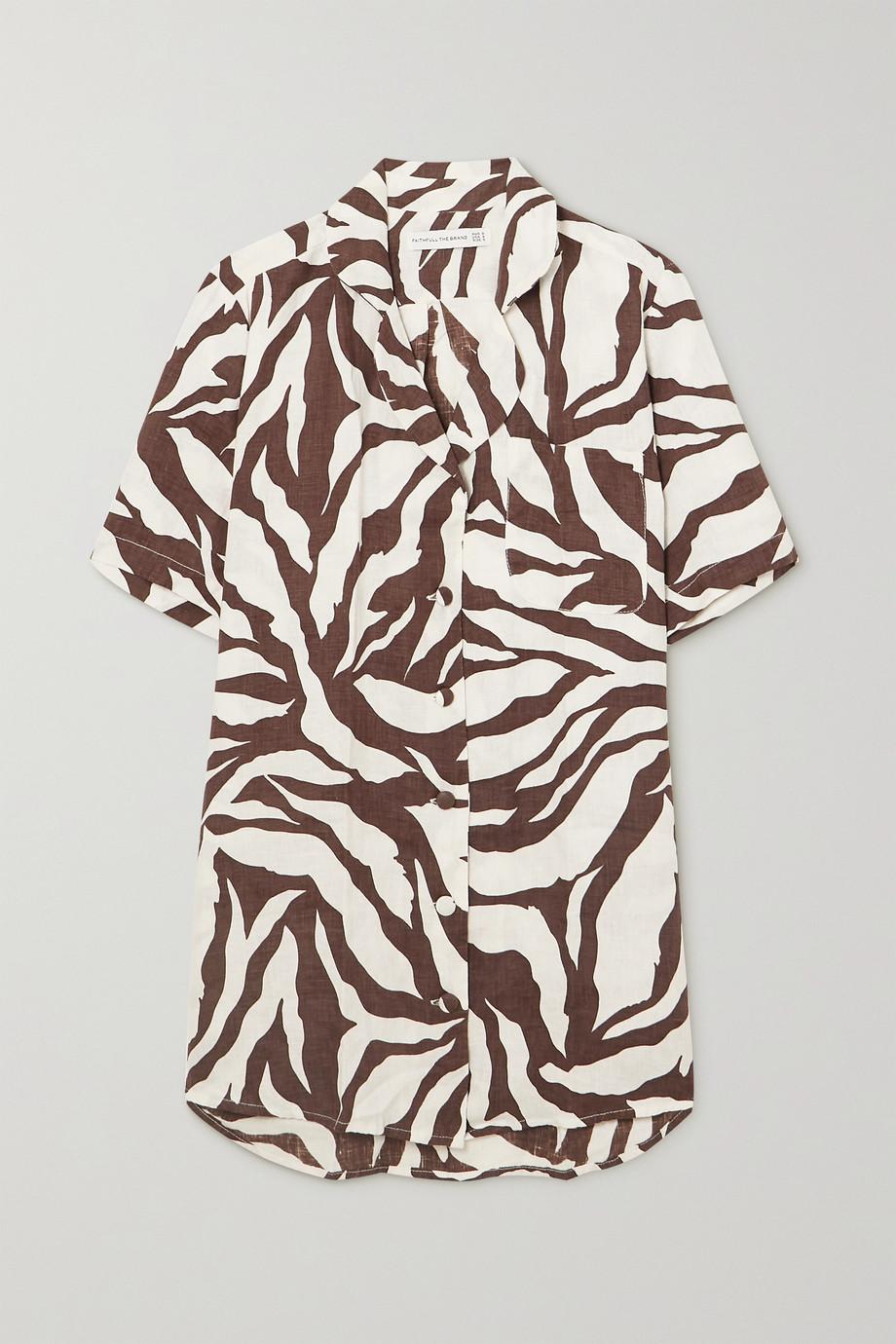 Faithfull The Brand + NET SUSTAIN Charlita zebra-print linen shirt