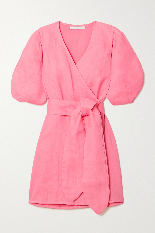 Faithfull The Brand + NET SUSTAIN Godiva linen mini wrap dress