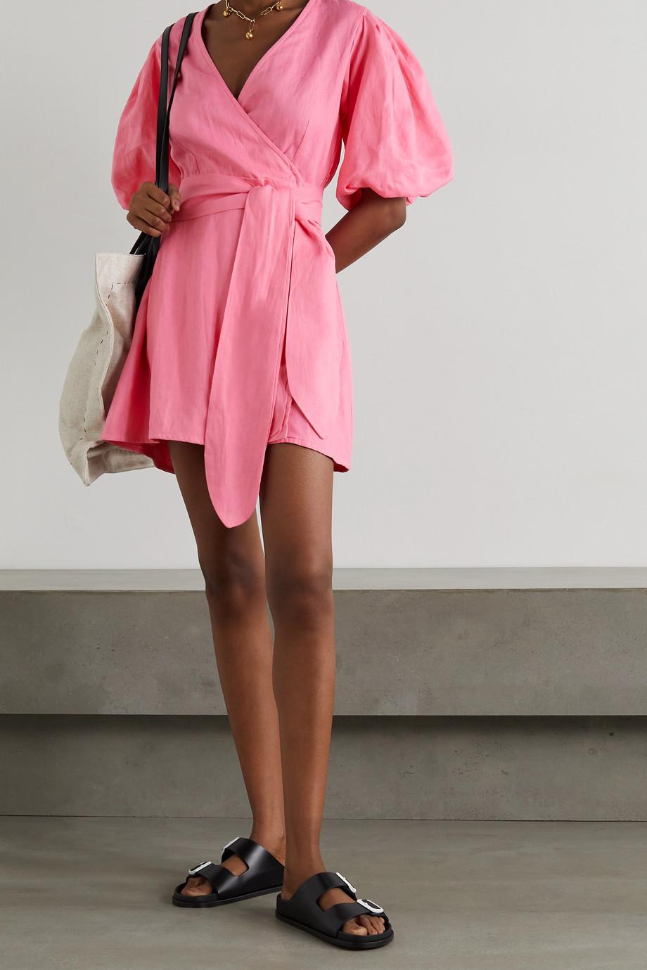 Faithfull The Brand + NET SUSTAIN Godiva Mini-Wickelkleid aus Leinen