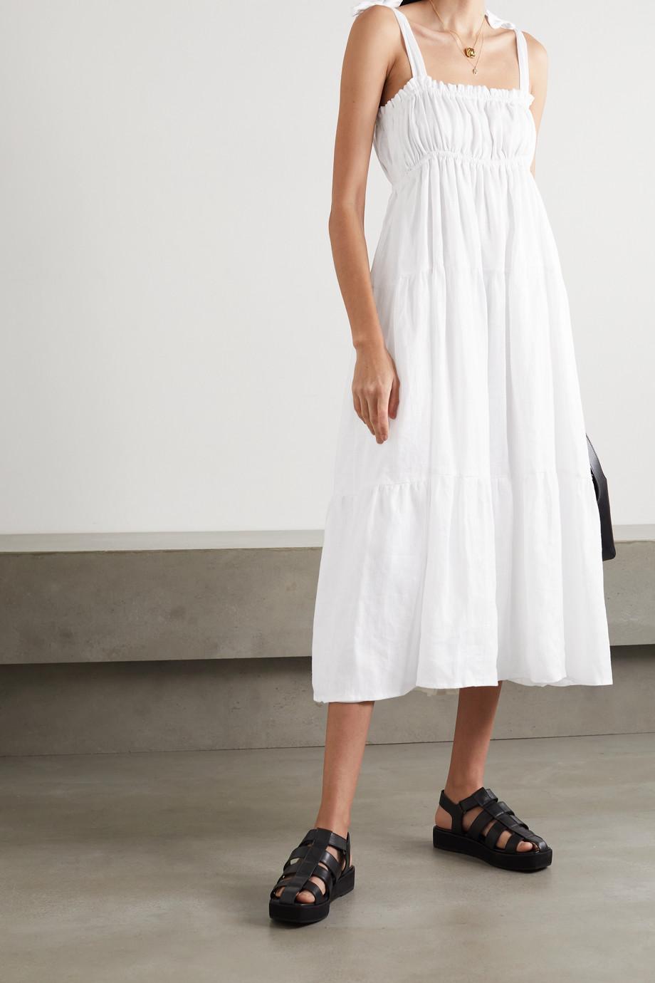Faithfull The Brand + NET SUSTAIN Bellamy tie-detailed tiered linen midi dress