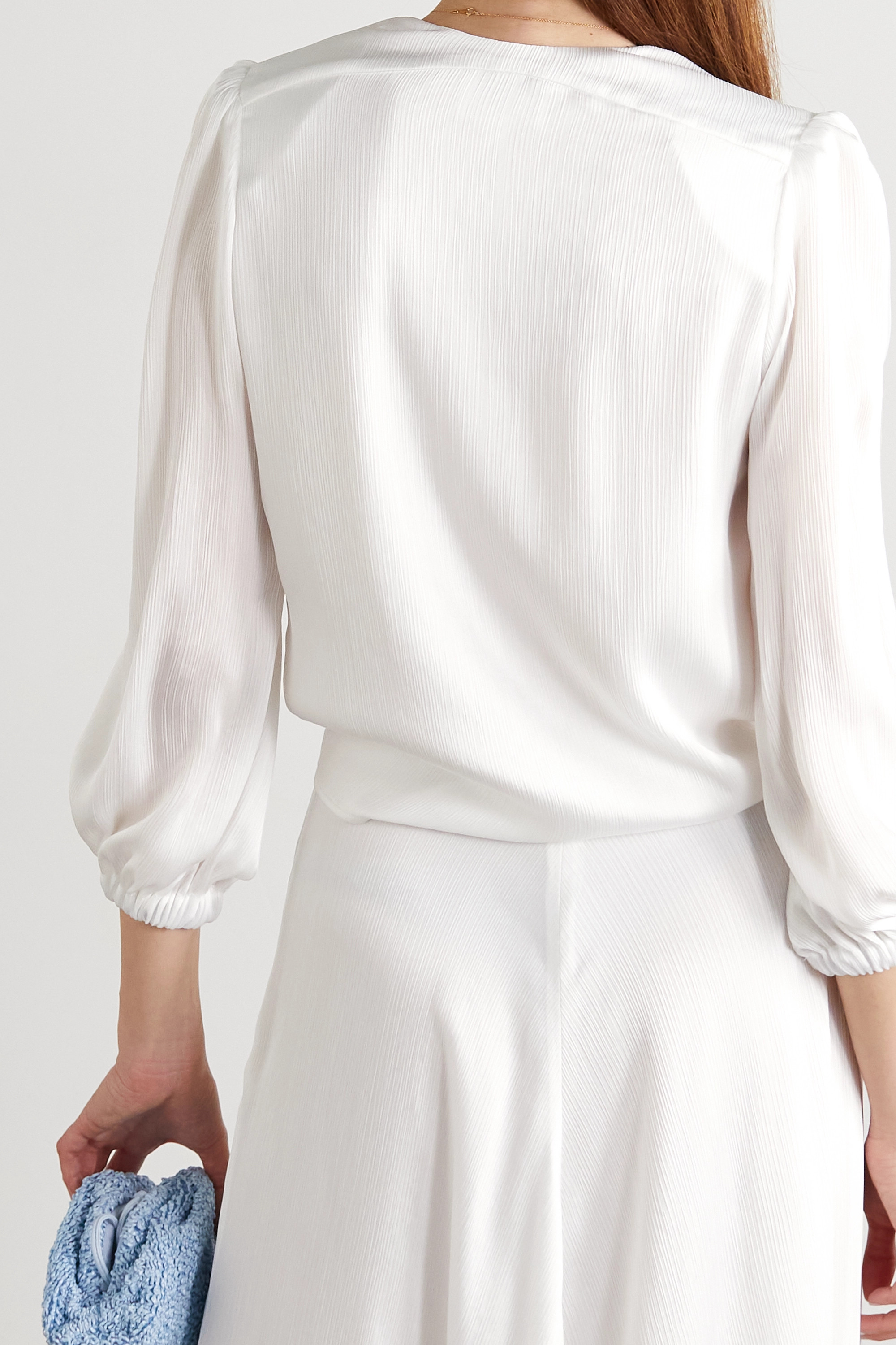 Galvan Felicity cropped crepon blouse