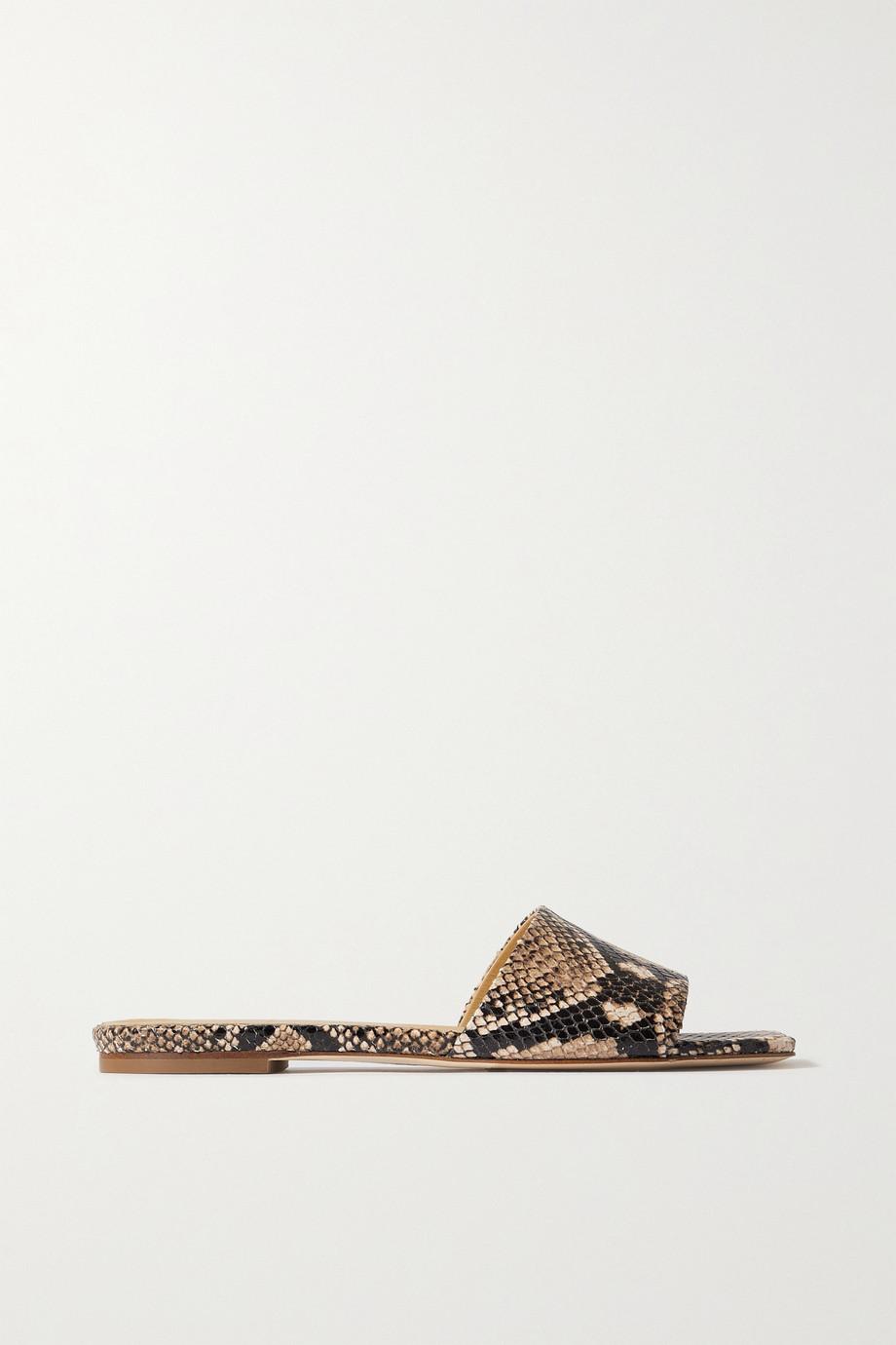 aeyde Anna snake-effect leather slides
