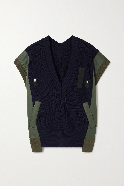 Sacai Pullover aus einer gerippten Baumwollmischung und Shell