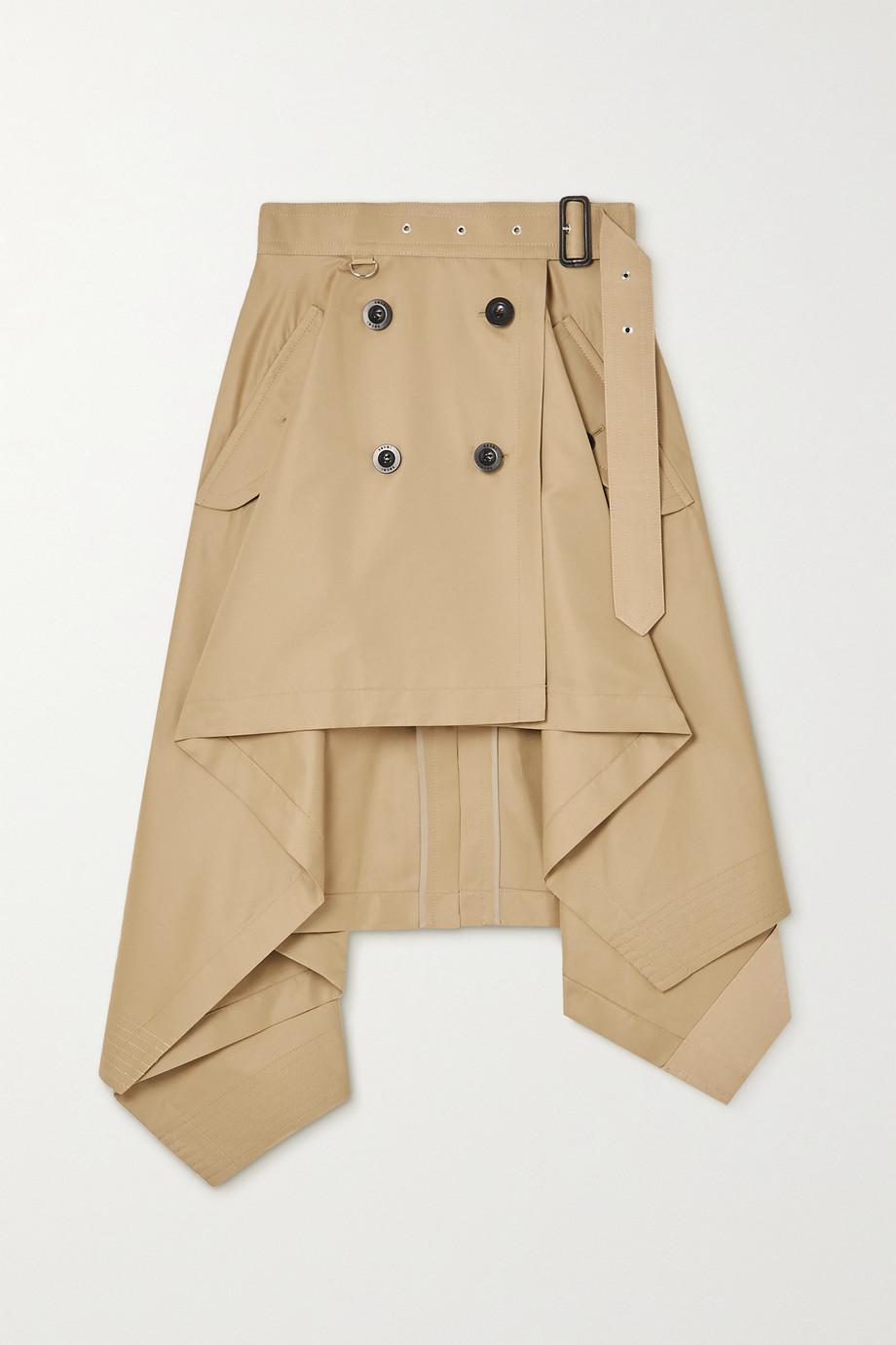 Sacai Asymmetric gabardine wrap skirt