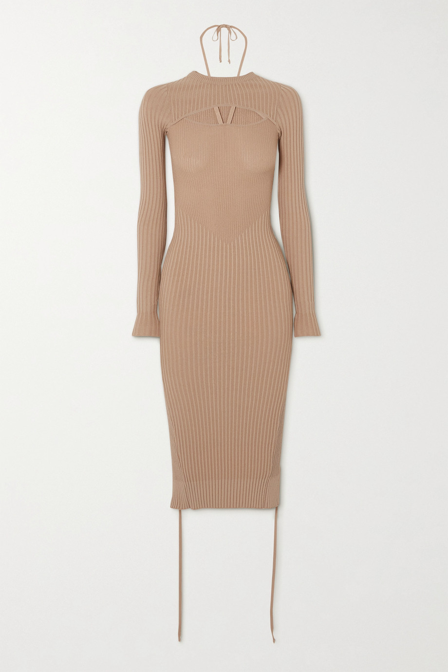 Andrea Adamo Cutout ribbed-knit midi dress