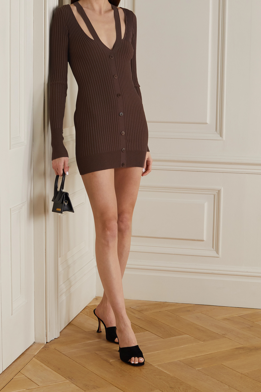 Andrea Adamo Layered cutout ribbed-knit mini dress