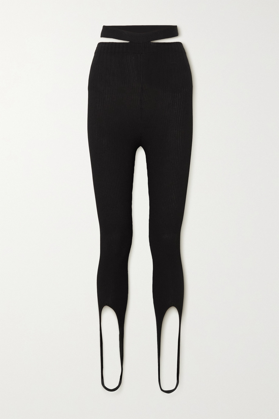 Andrea Adamo Cutout ribbed-knit stirrup leggings