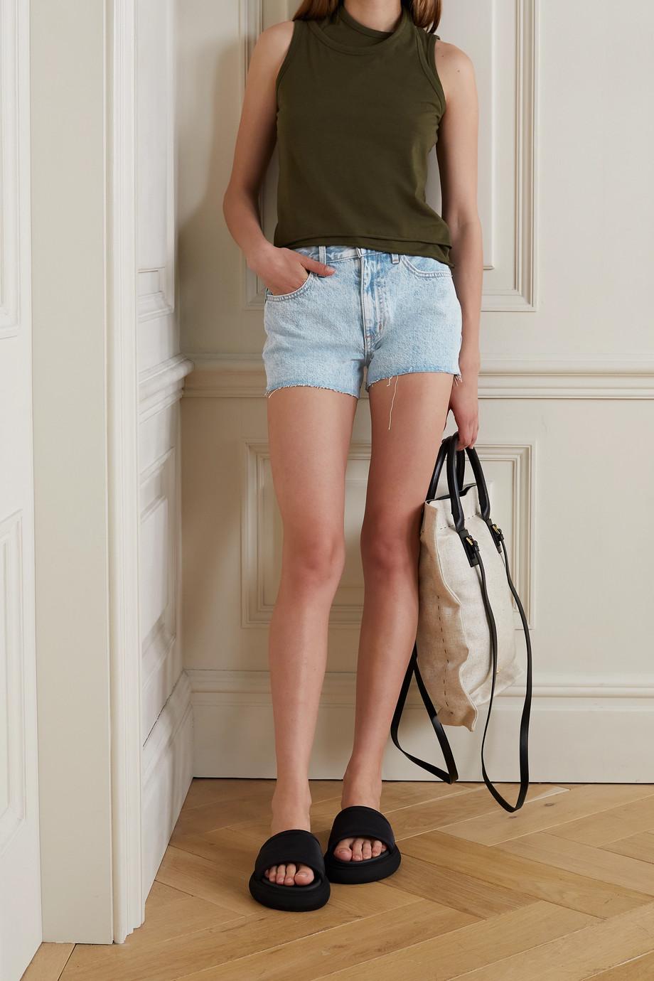 SLVRLAKE + NET SUSTAIN Farrah frayed organic denim shorts