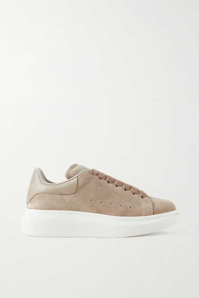 Alexander Mcqueen Leathers LEATHER-TRIMMED SUEDE EXAGGERATED-SOLE SNEAKERS
