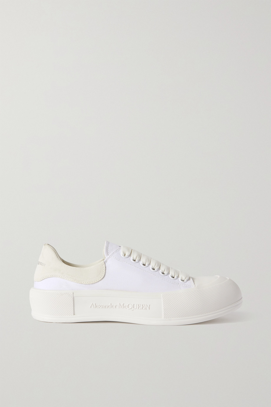 Alexander McQueen Suede-trimmed canvas exaggerated-sole sneakers