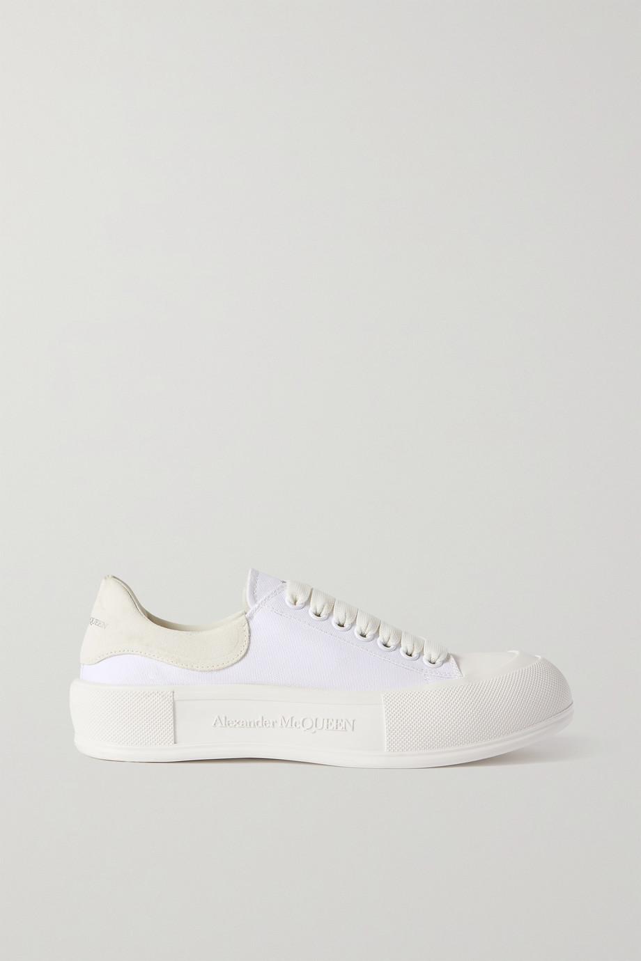 Alexander McQueen Sneakers aus Canvas mit Velourslederbesätzen und überstehender Sohle