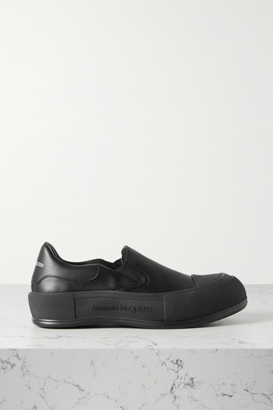 Alexander Mcqueen Leather Slip-on Exaggerated-sole Sneakers In Black