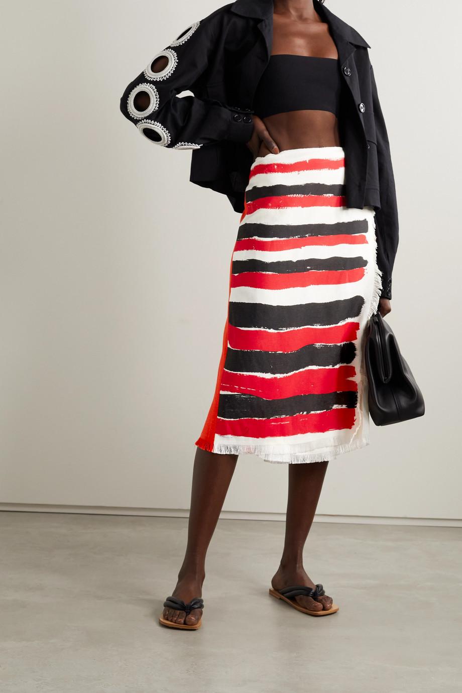 Marni Frayed striped gauze midi wrap skirt