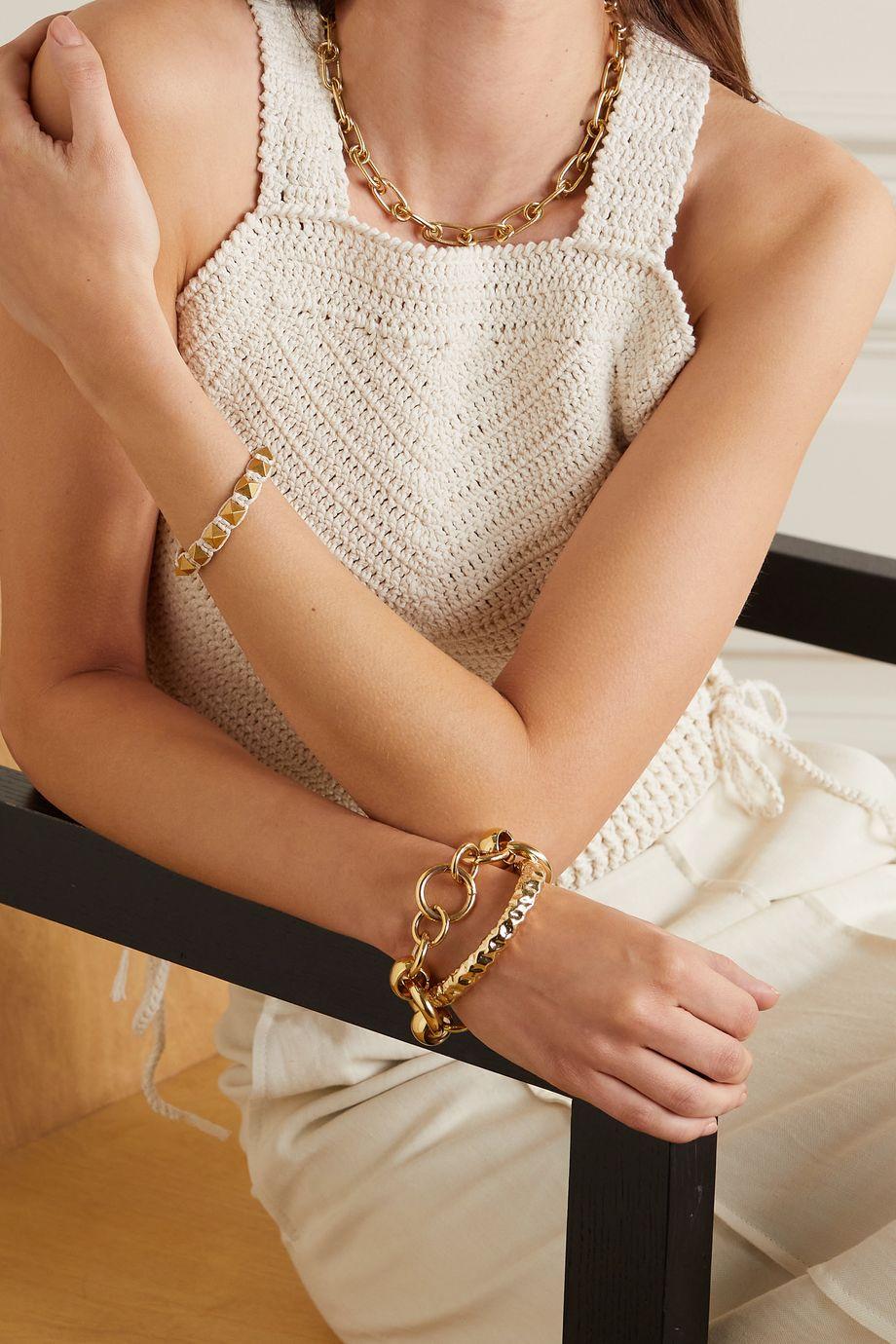 Valentino Bracelet en métal doré et coton Rockstud Valentino Garavani