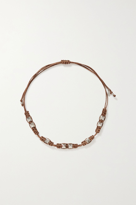 Valentino - Valentino Garavani Rockstud silver-tone and cord necklace