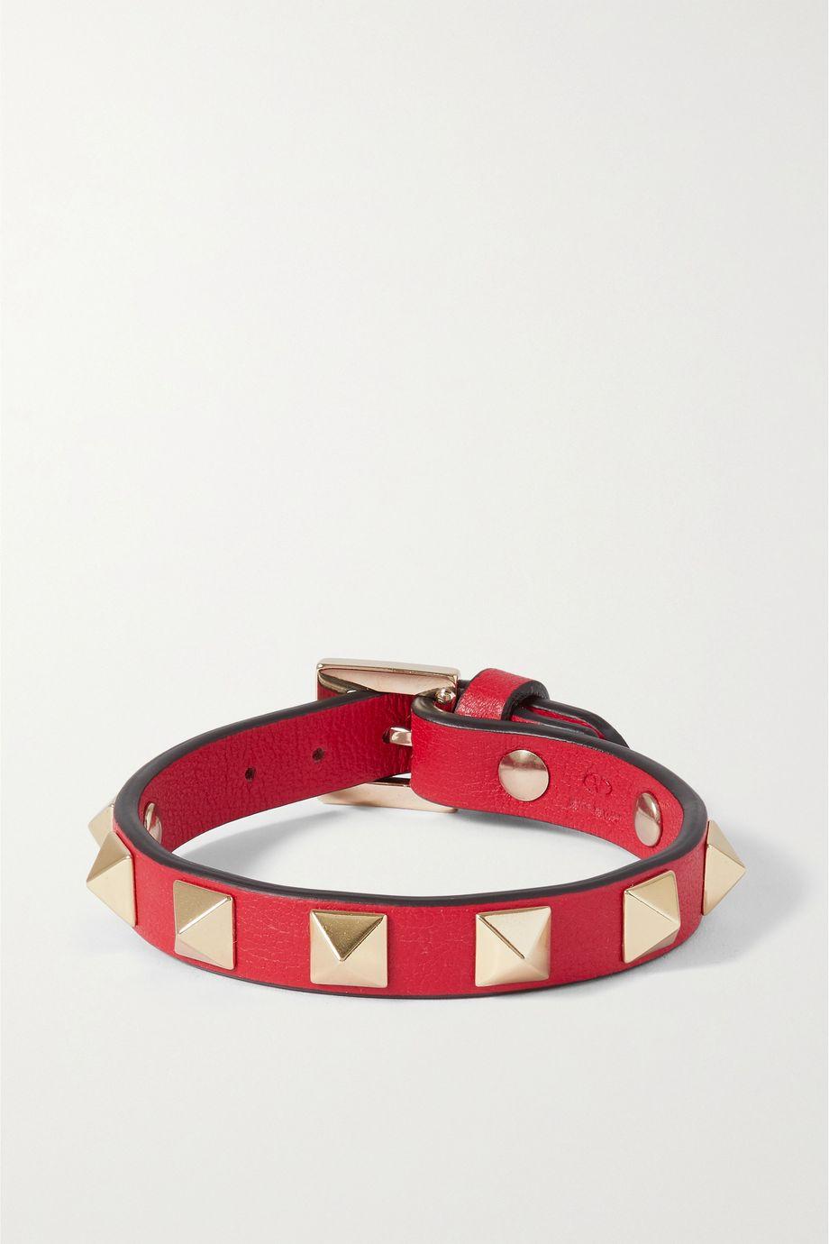 Valentino Bracelet en cuir texturé Rockstud Valentino Garavani