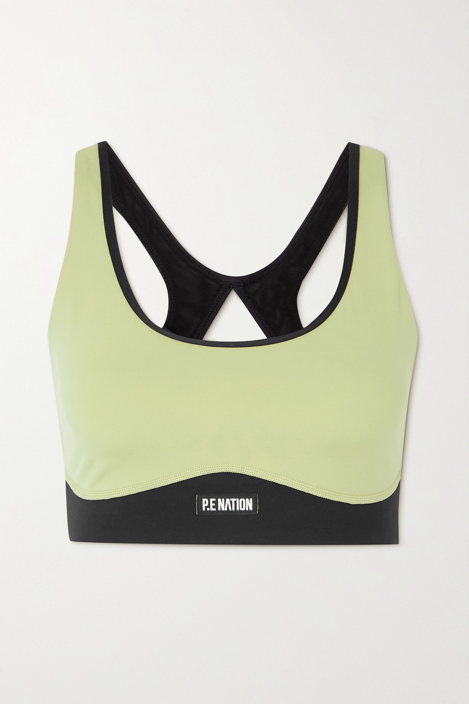P.E NATION Double Team recycled stretch and mesh sports bra