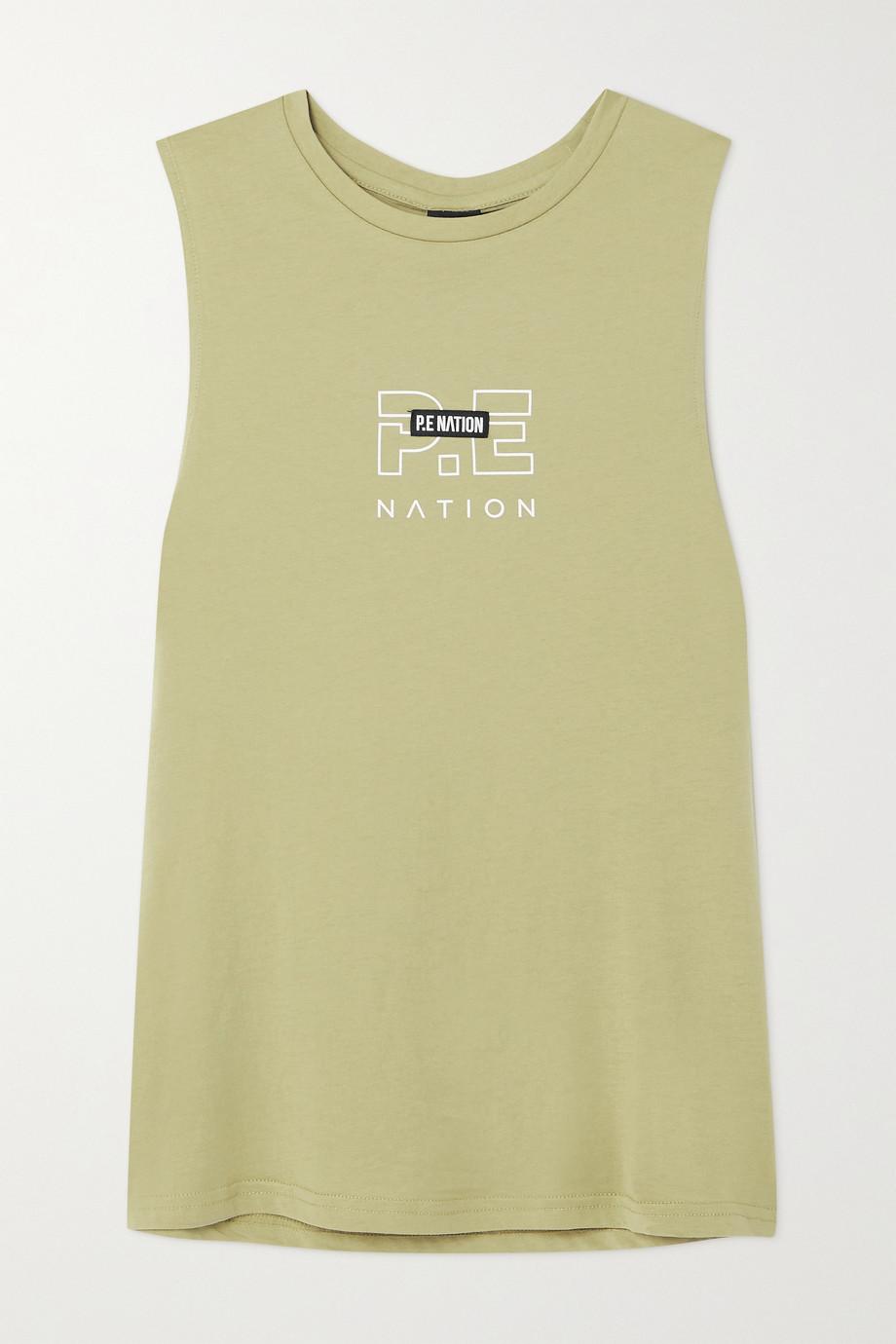 P.E NATION Twist Serve appliquéd printed organic cotton-jersey tank