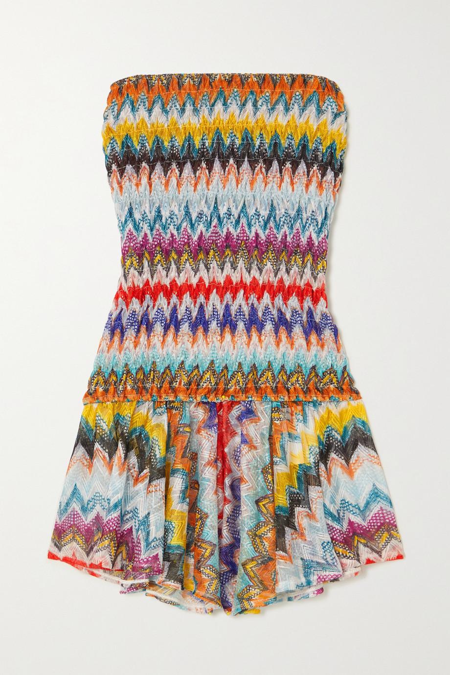 Missoni Combi-short bustier en mailles crochetées à smocks Mare