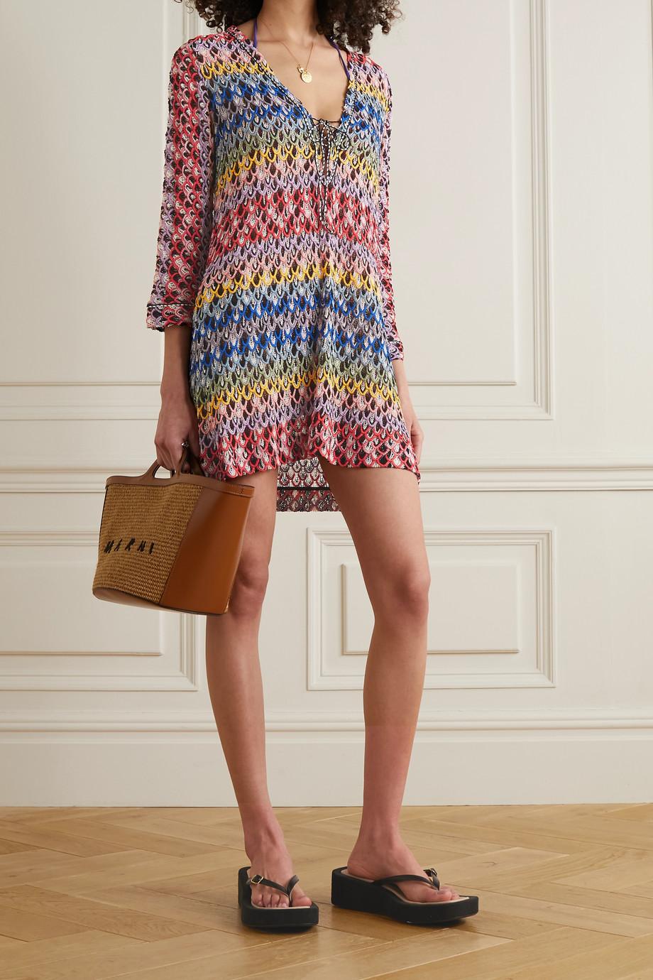 Missoni Mini-robe en mailles crochetées à lacets Mare