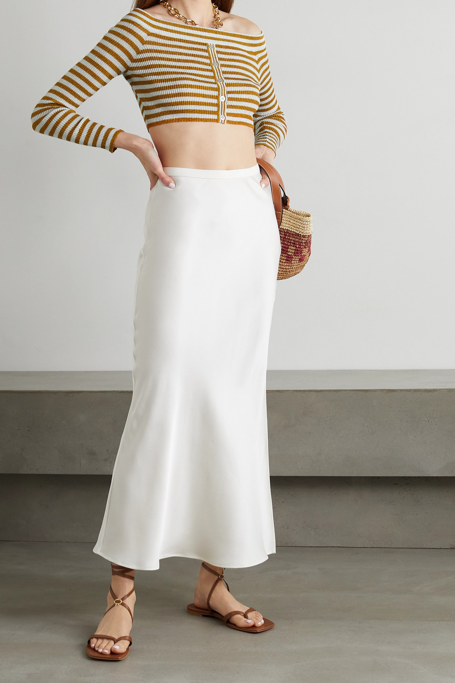 Missoni Off-the-shoulder cropped metallic striped ribbed-knit top
