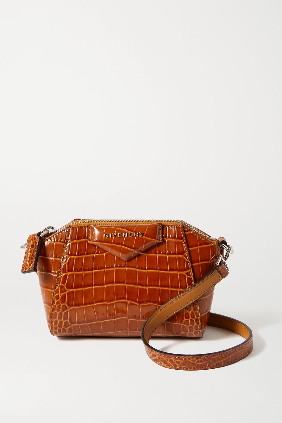Givenchy Sac porté épaule en cuir effet croco Antigona Nano