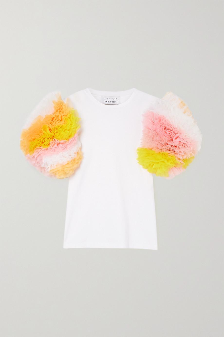 Tomo Koizumi X Emilio Pucci Cotton-jersey and ruffled tulle T-shirt