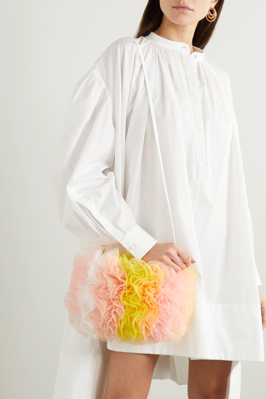 Tomo Koizumi X Emilio Pucci Leather-trimmed ruffled tulle shoulder bag