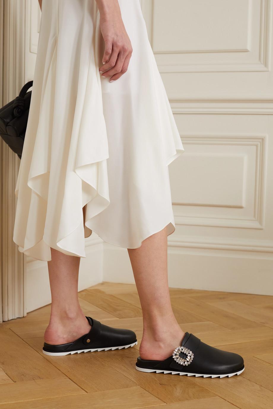 Roger Vivier Slidy Strass crystal-embellished leather slippers