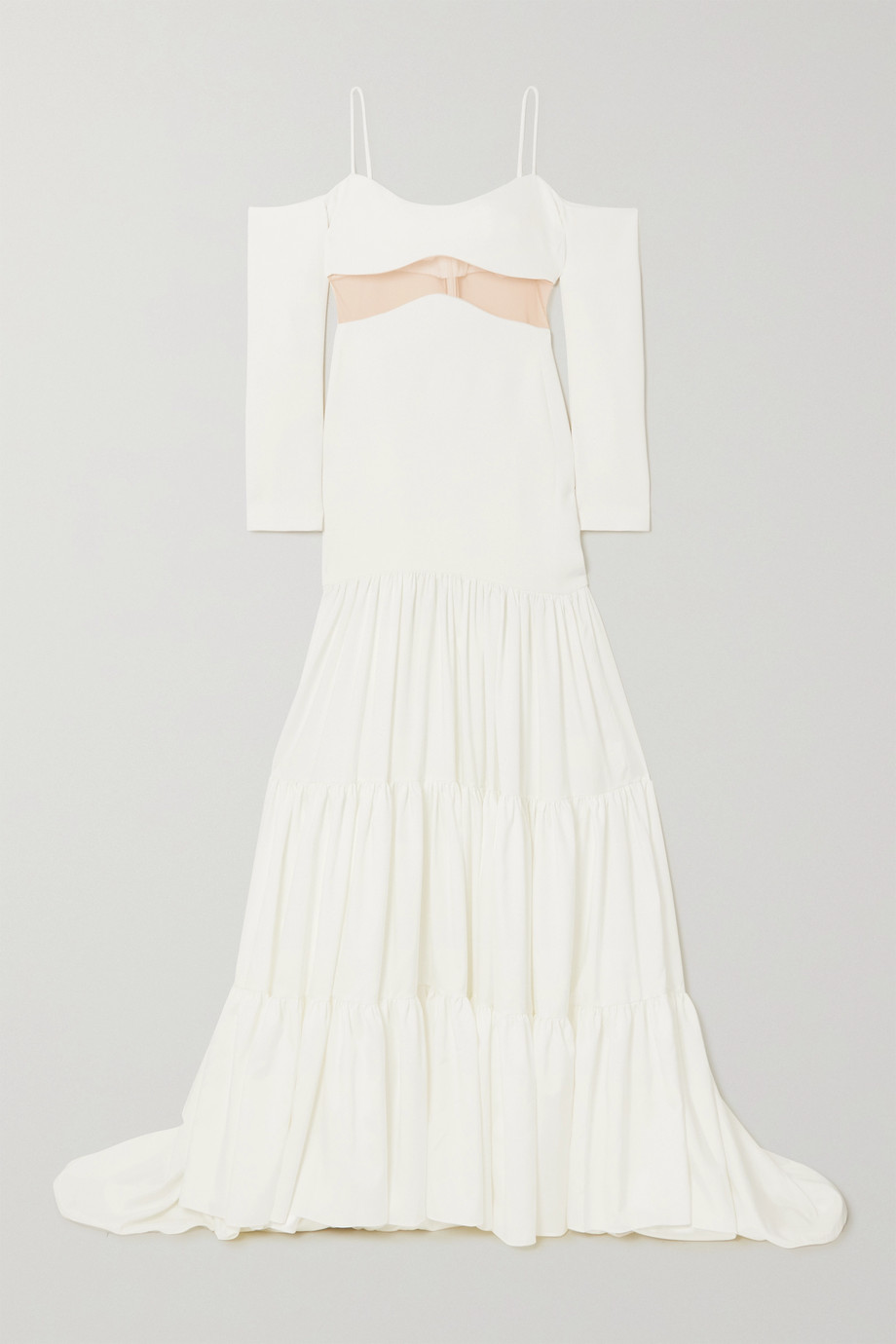 David Koma Cold-shoulder tulle-paneled stretch-cady and voile gown