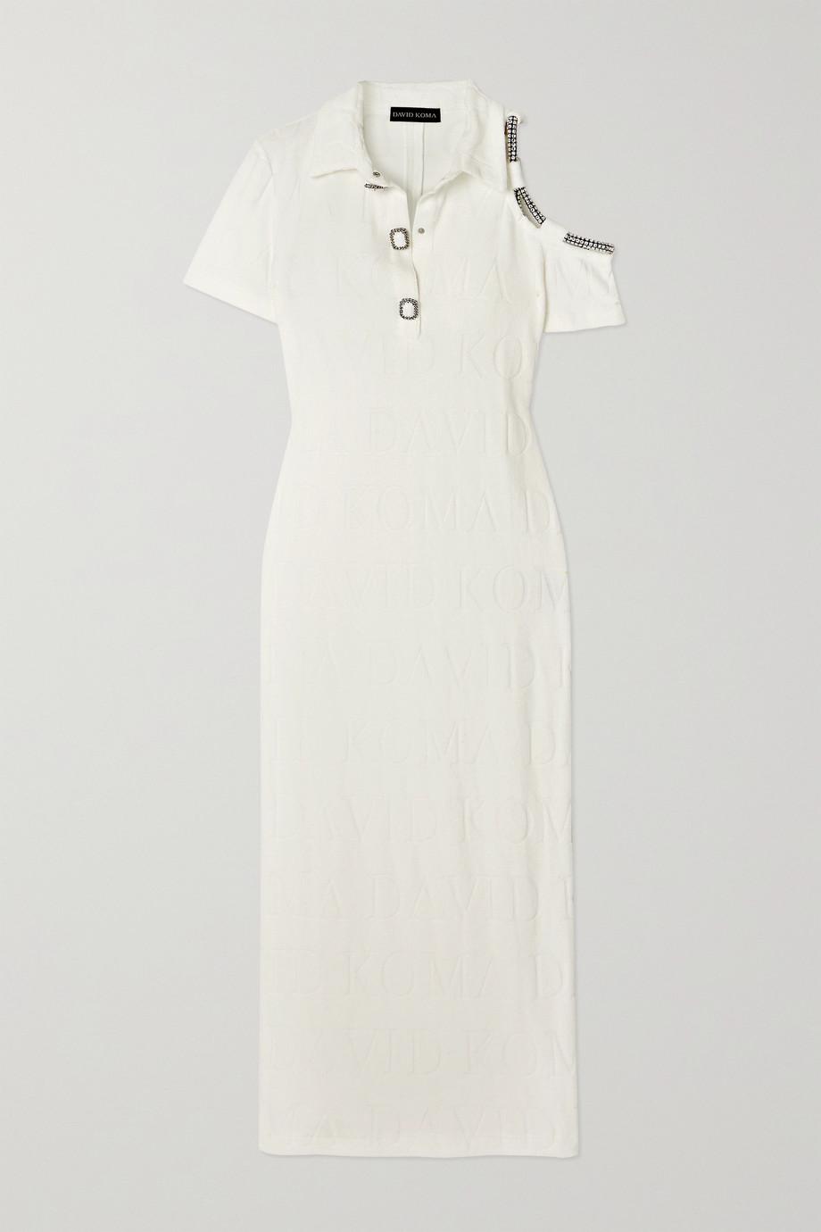 David Koma Crystal-embellished cutout intarsia cotton-blend terry midi dress