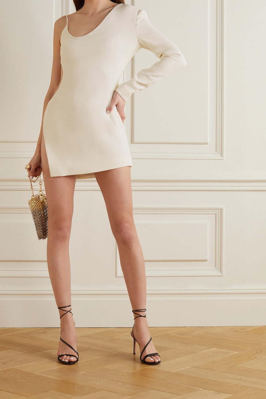 David Koma One-sleeve cutout stretch-cady mini dress